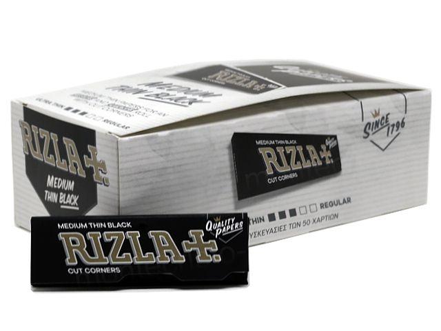 Χαρτάκια Rizla μαύρα black, κουτί των 50 τεμαχίων