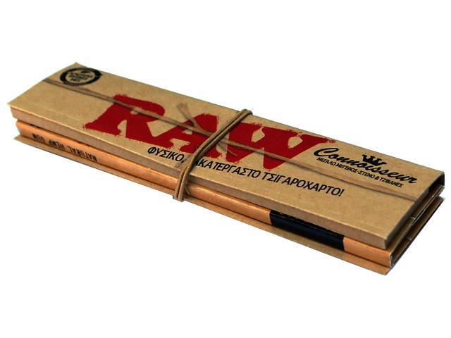 657 - Χαρτάκι Raw king size CLASIC φυσικό ακατέργαστο slim συν tips με τζιβάνες 32 φύλλα