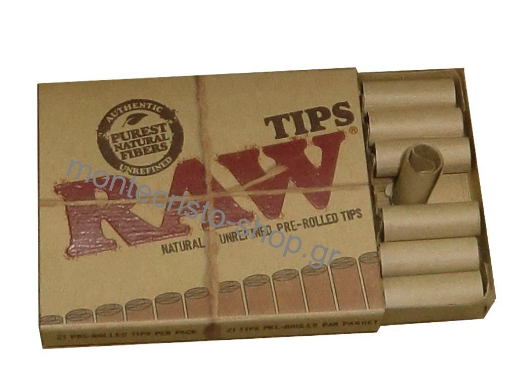 Τζιβάνα Raw Tips Prerolled προτυλιγμένη σετ με 21 τζιβάνες