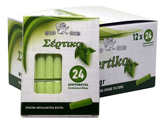 ΦΙΛΤΡΑ ΣΕΡΤΙΚΟ 51133 ΠΡΑΣΙΝΑ (24 ανταλλακτικα φιλτράκια για πίπα τσιγάρου) κουτί των 12