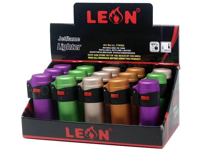 10167 - LEON 170362 JETFLAME LIGHTER αναπτήρας αντιανεμικός (κουτί των 15)