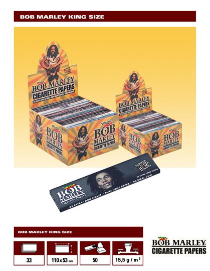 771 - BOB MARLEY KING SIZE, Pure Hemp, κουτί 50 τεμ, €0,76 το χαρτ, 33 φύλλα
