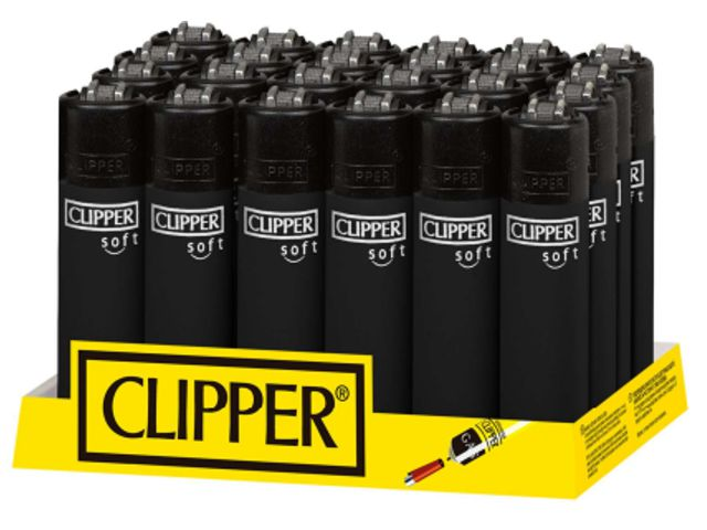 Clipper Soft Touch Black + BW D24 Large CP11RH κουτί με 24 αναπτήρες