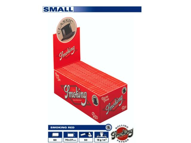 820 - Χαρτάκια Smoking RED μικρό κόκκινο κουτί 50τεμ 60 φύλλα με τιμή 0,20 το χαρτάκι
