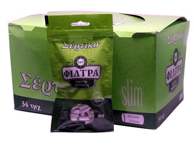 10400 - Φιλτράκια Σέρτικο Slim 165 + χαρτάκια δώρο (κουτί 34 τεμαχίων)