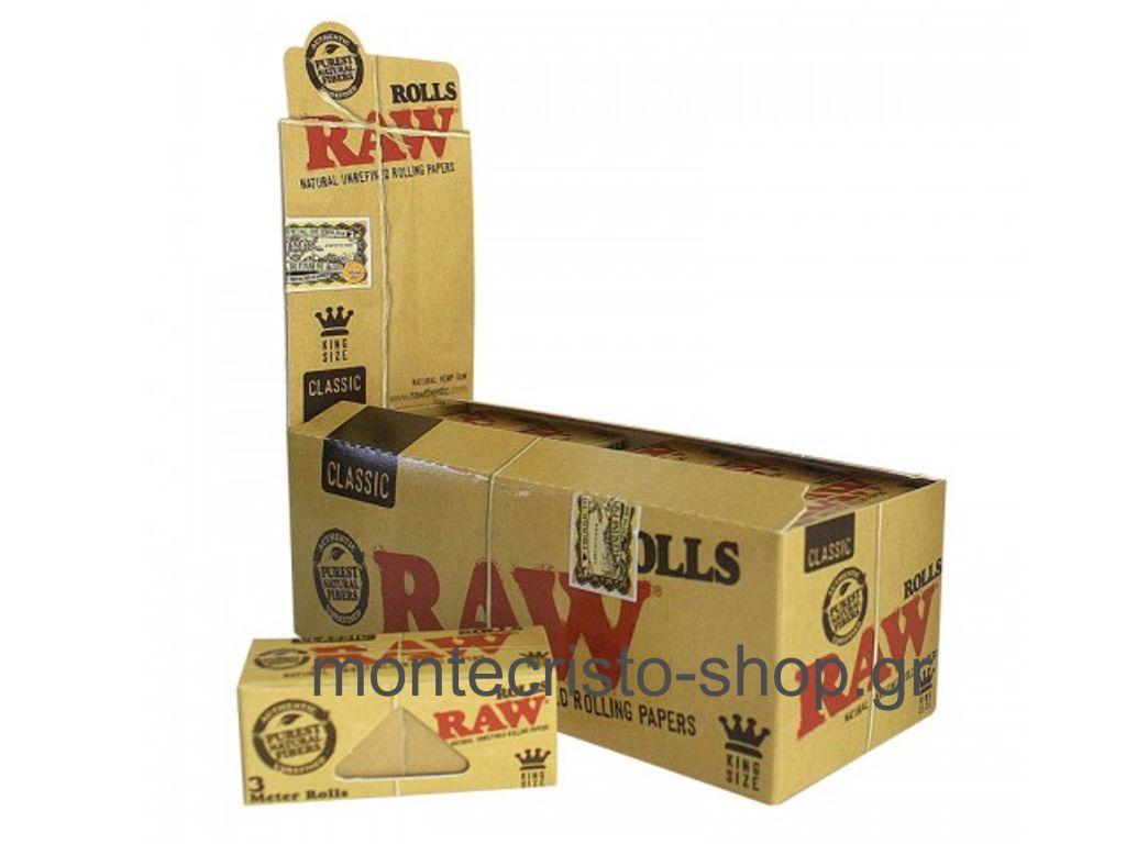 847 - Κουτί 12 ρολλών Raw Classic KS ακατέργαστο 5cm / 3 μέτρα