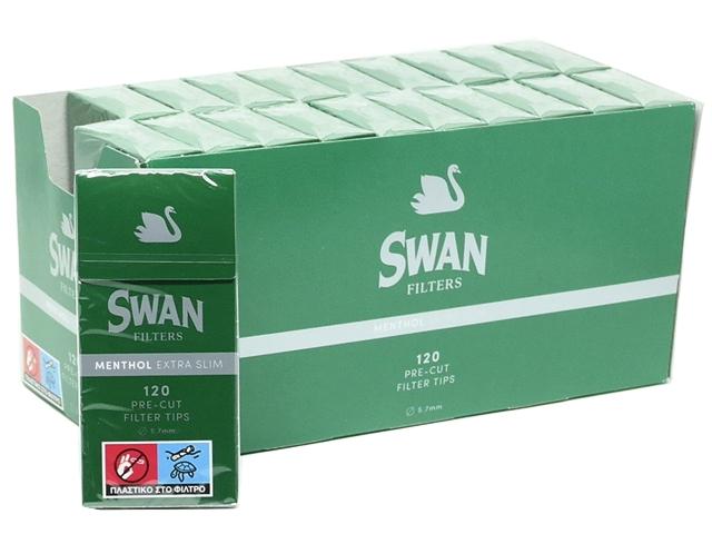Κουτί 20 τεμαχίων, €0,68 το ένα, φιλτράκια Swan Extra Slim Μέντα 5.7mm