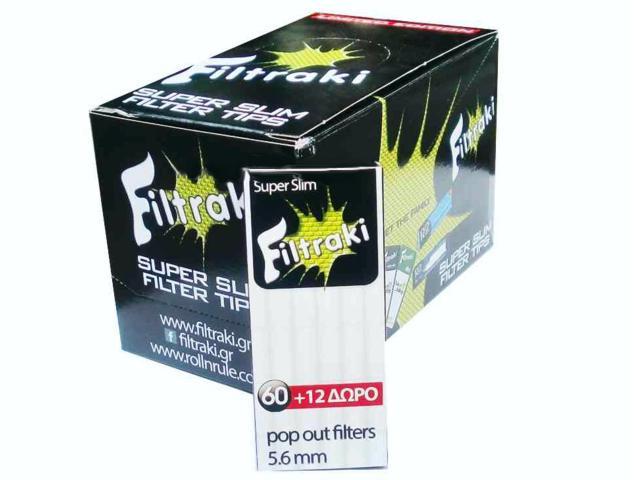 filtraki super slim 5,6mm mini κουτί 20 τεμαχίων με 60 + 12 φιλτράκια στριφτού