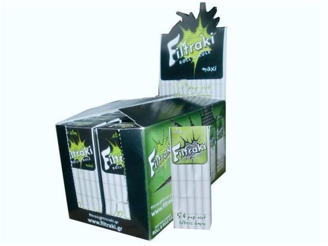 1148 - filtraki slim 6mm mini κουτί 20 τεμάχια με 54 φιλτράκια στριφτού