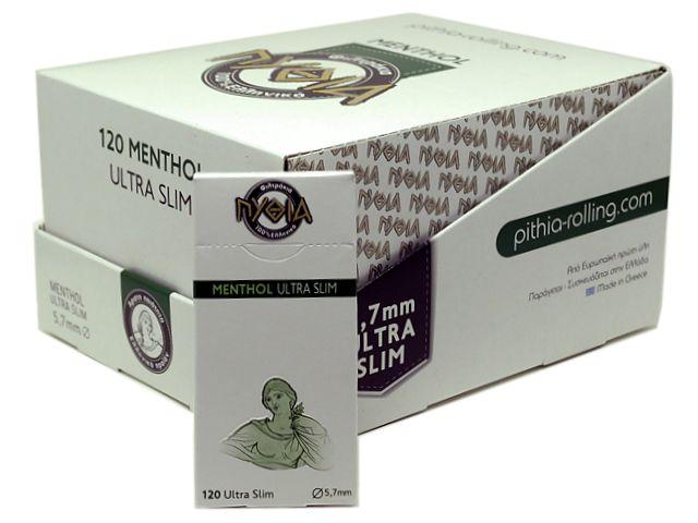 10613 - Φιλτράκια Πυθία MENTHOL120 ULTRA SLIM 5.7mm μέντα (κουτί των 24)