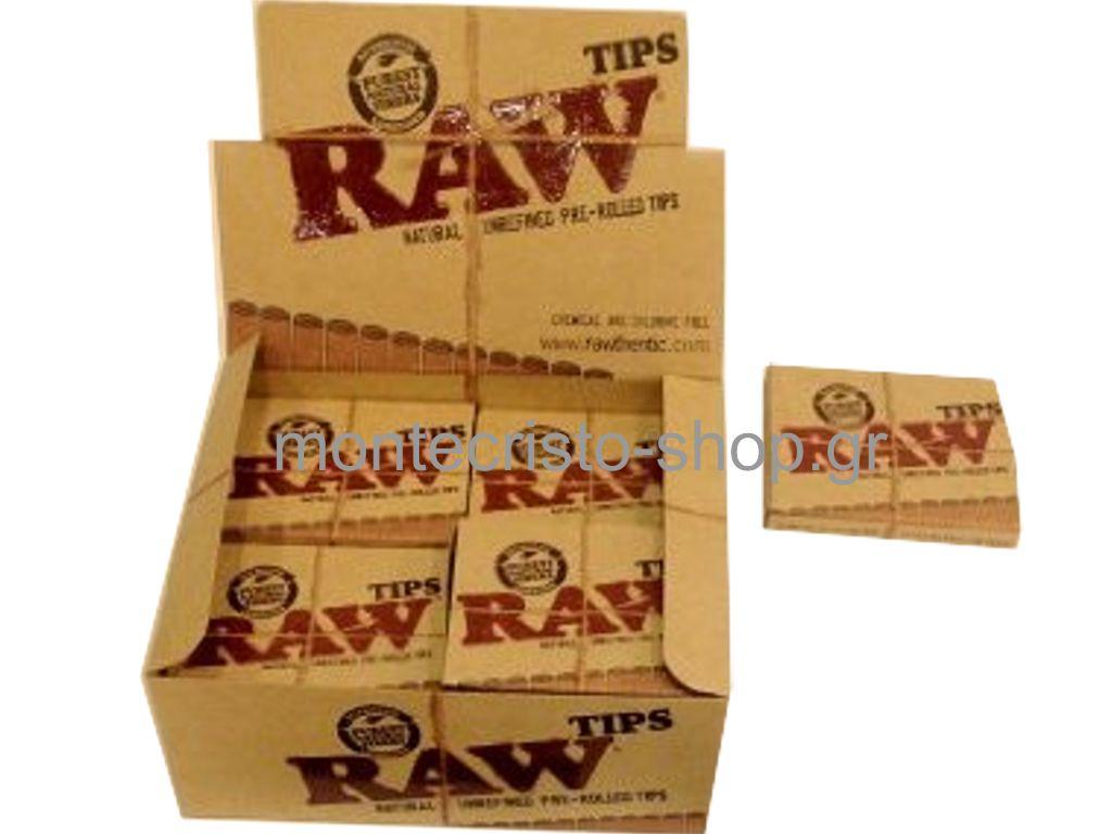Κουτί με 20 Τζιβάνες Raw Tips Natural Prerolled προτυλιγμένες τιμή 0,68 η τζιβάνα