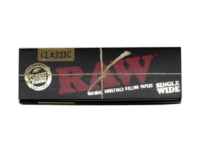 Χαρτάκια RAW BLACK 50 ακατέργαστο single wide classic