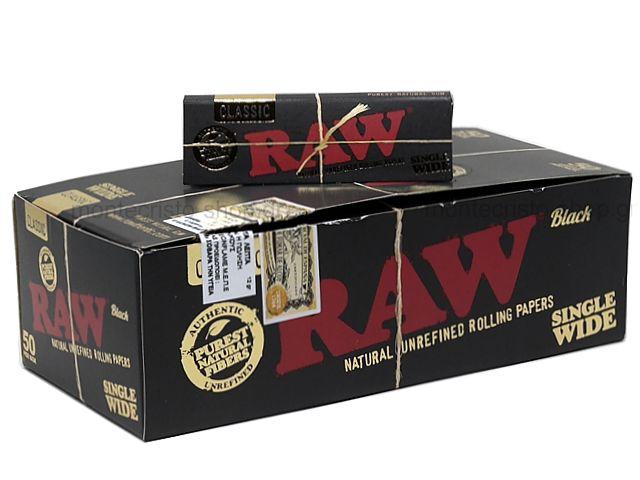 Χαρτάκια RAW BLACK 60 ακατέργαστο single wide classic (κουτί των 50)