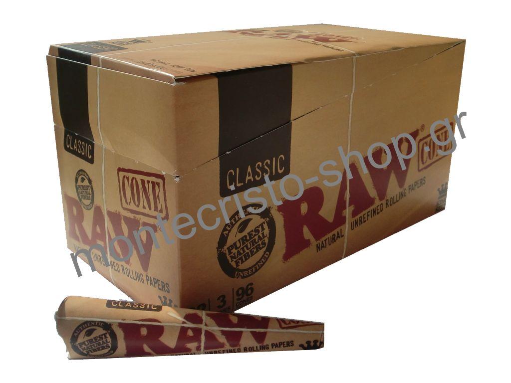 1549 - Κουτί με 32 Raw Cone Classic King Size, 3 κώνοι σε κάθε συσκευασία.