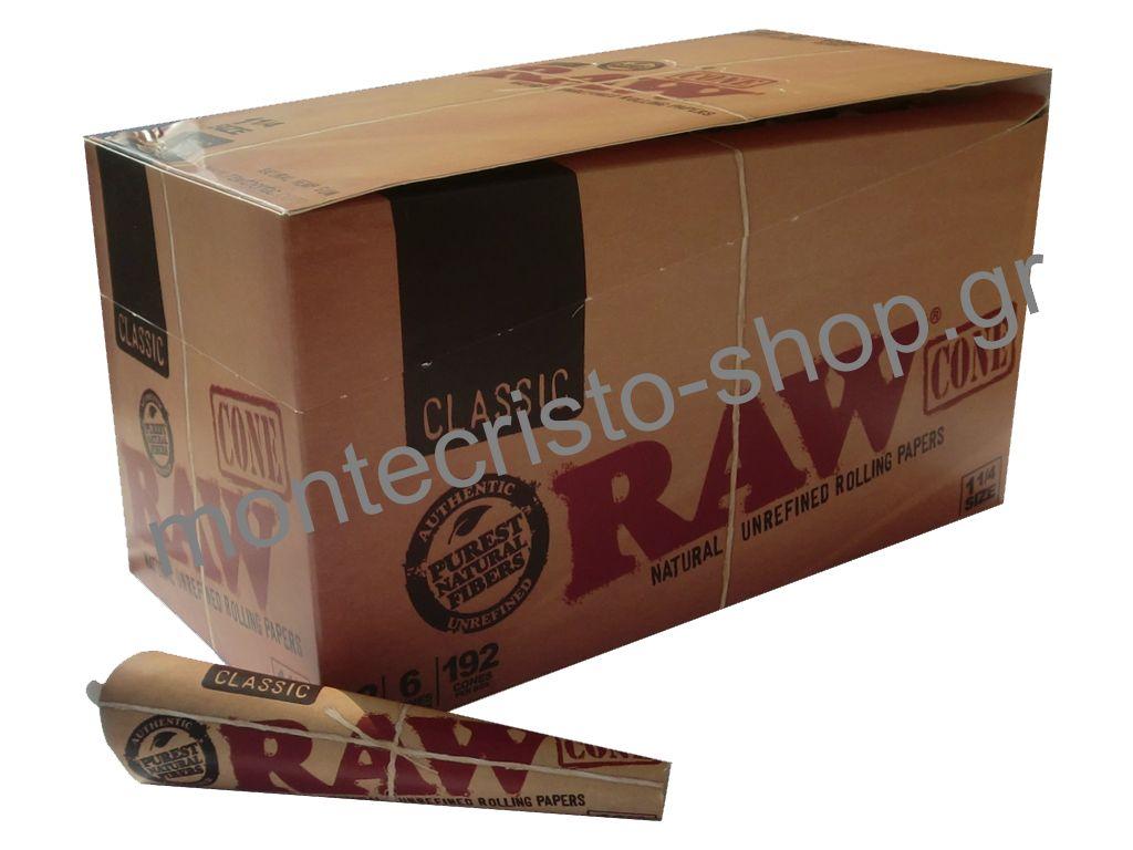 Κουτί με 32 Raw Cone Classic 1 και 1 τέταρτο μεσαίο ακατέργαστο unrefined 6 κώνοι