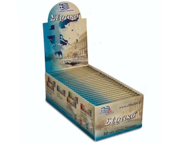 Κουτί με 50 χαρτάκια Σέρτικο γαλάζιο, λεπτό, χωρίς χλώριο, φύλλα 50