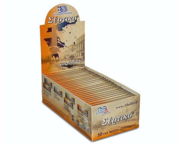 Κουτί με 50 χαρτάκια Σέρτικο πορτοκαλί, μεσαίο πάχος φύλλα 50