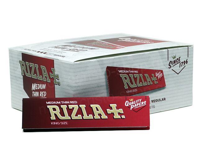 Χαρτάκια RIZLA KING SIZE SLIM MEDIUM THIN RED ΚΟΚΚΙΝΟ (κουτί των 50)