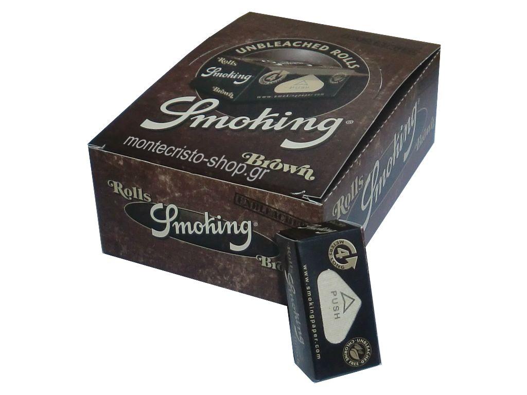 Κουτί με 24 Ρολά Smoking Rolls brown unbleached ακατέργαστο 4 μέτρα μήκος (0.98 το ρολό)
