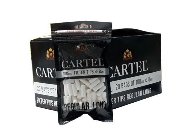 10949 - Κουτί με 20 φιλτράκια Cartel Filter Regular Long 8mm με 100 φίλτρα το σακουλάκι και πολύ μακρύ φίλτρο 22mm