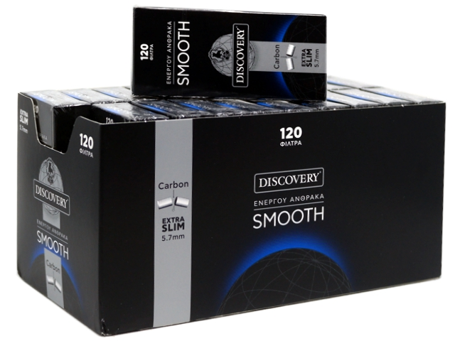 Κουτί με 20 φιλτράκια DISCOVERY SMOOTH ενεργού άνθρακα 5,7mm extra silm