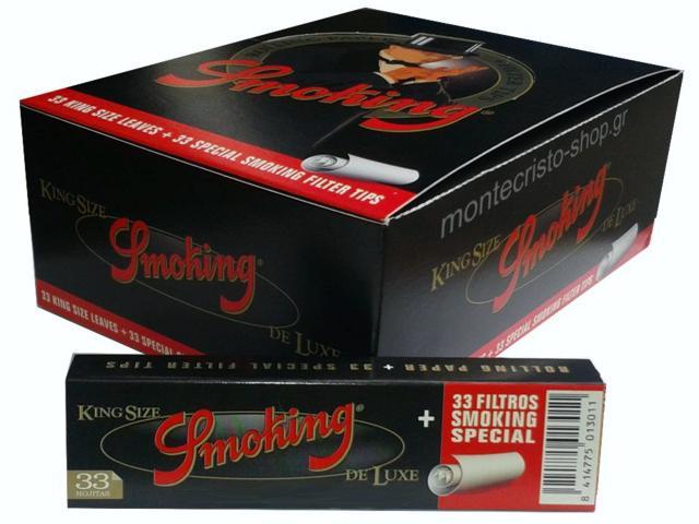 Κουτί με 24 χαρτάκια Smoking De Luxe king size + Filter Tips και τζιβάνες
