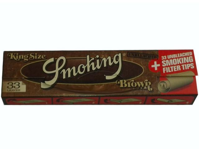 Χαρτάκια Smoking Brown unbleched king size + Filter Tips και τζιβάνες