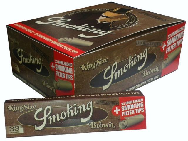 Κουτί με 24 Χαρτάκια Smoking Brown unbleched king size + Tips και τζιβάνες