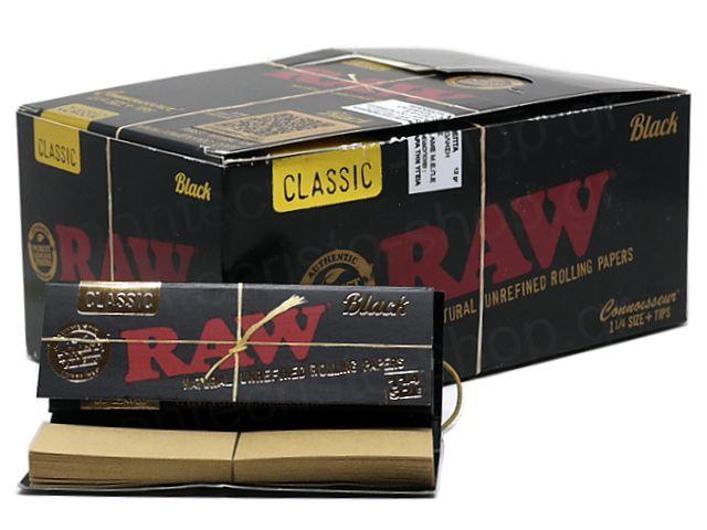 10998 - Χαρτάκια RAW BLACK 1&1/4 +TIPS ΜΕ ΤΖΙΒΑΝΕΣ CONNOISSEUR 50 (κουτί των 24 τεμ)