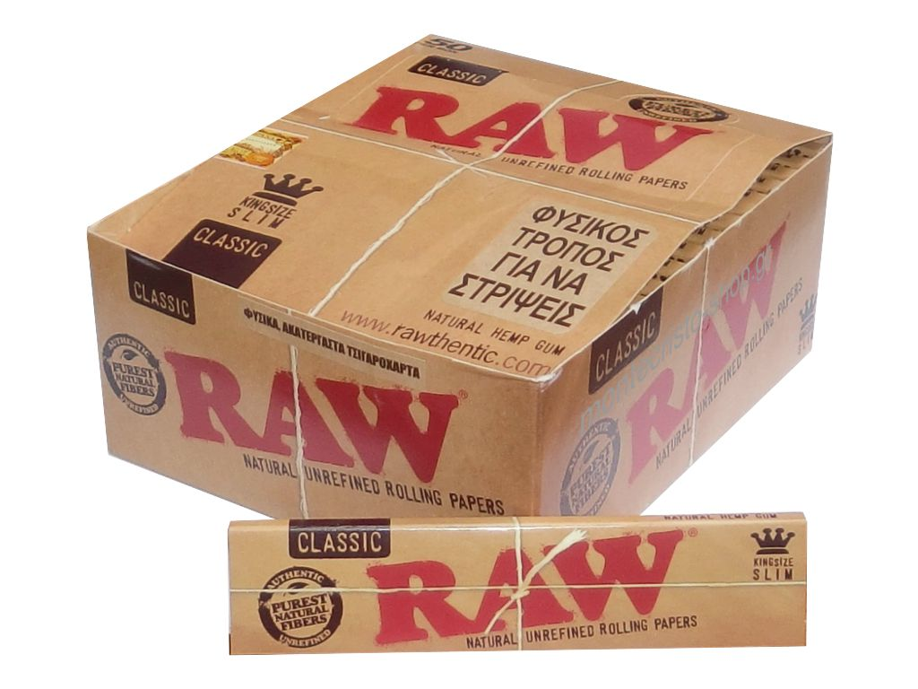 1783 - Κουτί με 50 χαρτάκια RAW King Size SLIM Classic ακατέργαστο 32 φύλλα