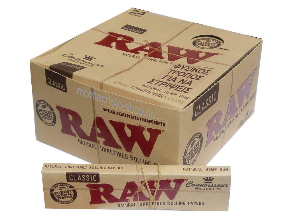 1785 - Κουτί με 24 χαρτάκια Raw king size CLASIC ακατέργαστο slim συν tips με τζιβάνες 32 φύλλα