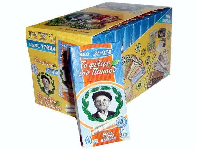 Κουτί με 20 φίλτρα του παππού 47624 5,7mm με 60 λευκά φίλτρα σε μεμβράνη