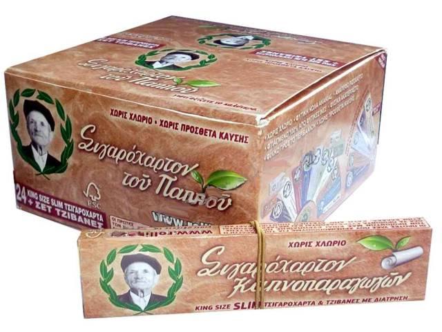 Κουτί με 24 χαρτάκια του παππού 47582 καφέ ρυζόχαρτο King Size Slim και τζιβάνες με διάτρηση