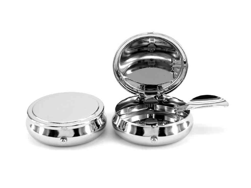 Φορητό μεταλλικό τασάκι round shape ashtray in shiny nickel plated