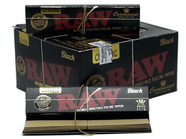 Χαρτάκια RAW BLACK KS SLIM + TIPS με ΤΖΙΒΑΝΕΣ Classic (κουτί με 24 τεμ)
