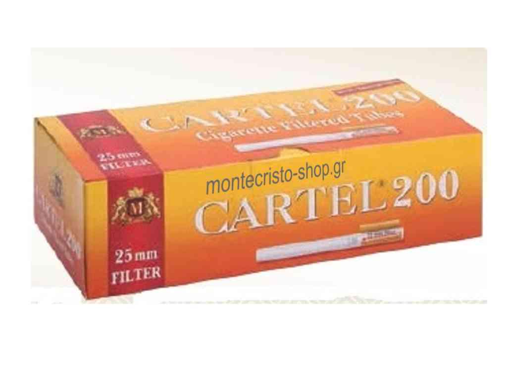 Αδεια τσιγάρα CARTEL 200 Filtered Cigarette Tubes King Size με μακρύ φίλτρο 25mm