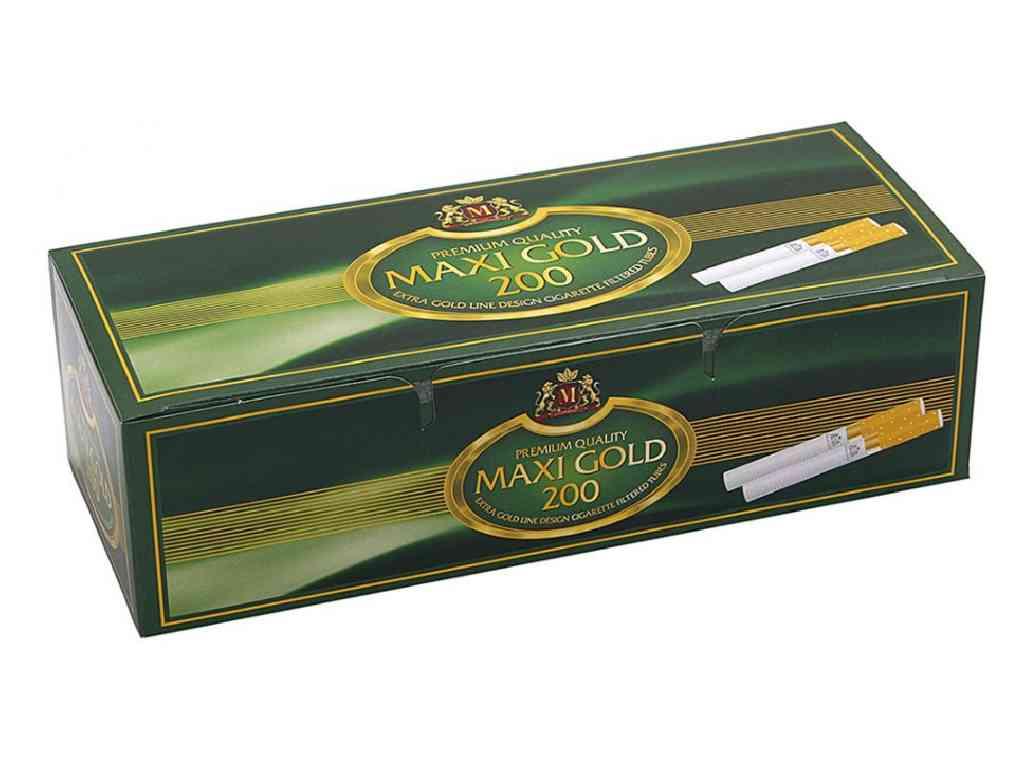 Άδεια τσιγάρα MAXI GOLD 200 83mm με χρυσό δαχτυλίδι με 200 σωλήνες