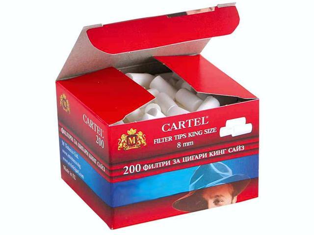 1901 - Φιλτράκια Cartel Regular 8mm με 200 φίλτρα το πακέτο και φίλτρο 15mm
