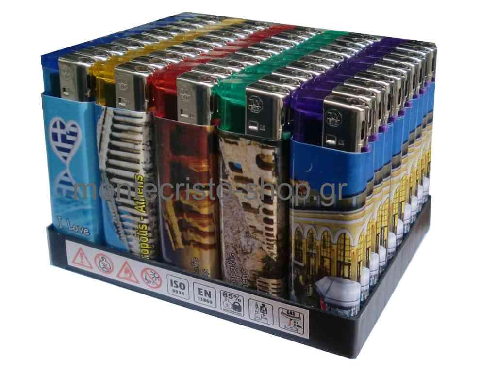 Κουτί με 50 αναπτήρες ATOMIC Greece με δύο όψεις μεγάλοι ηλεκτρονικοί σε 5 χρώματα