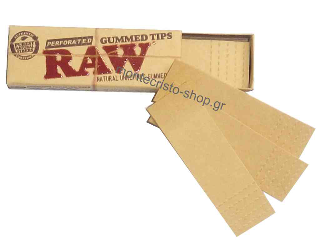 Τζιβάνες RAW PERFORATED GUM TIPS με κόλλα ακατέργαστες διάτρητες σε κουτί