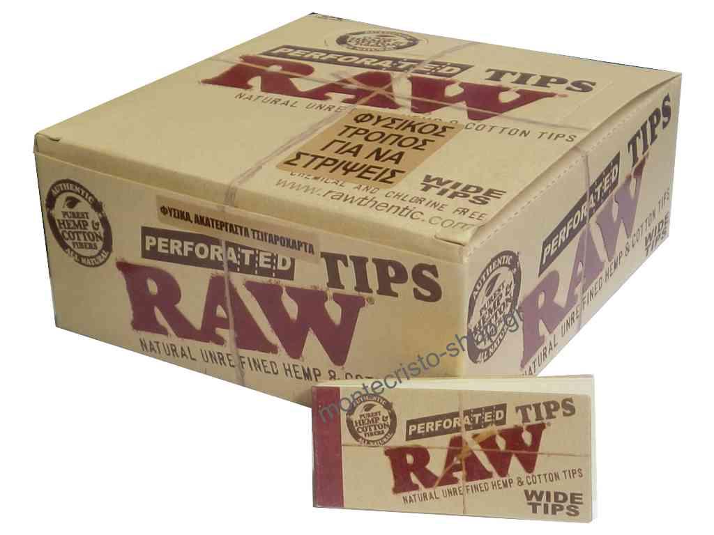 Κουτί με 50 τζιβάνες RAW PERFORATED WIDE TIPS φαρδιές σπαστές ακατέργαστες