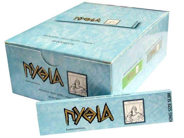 1959 - Κουτί με 60 χαρτάκια ΠΥΘΙΑ γαλάζια King Size Slim με 32 φύλλα με τιμή 0.33 το τσιγαρόχαρτο