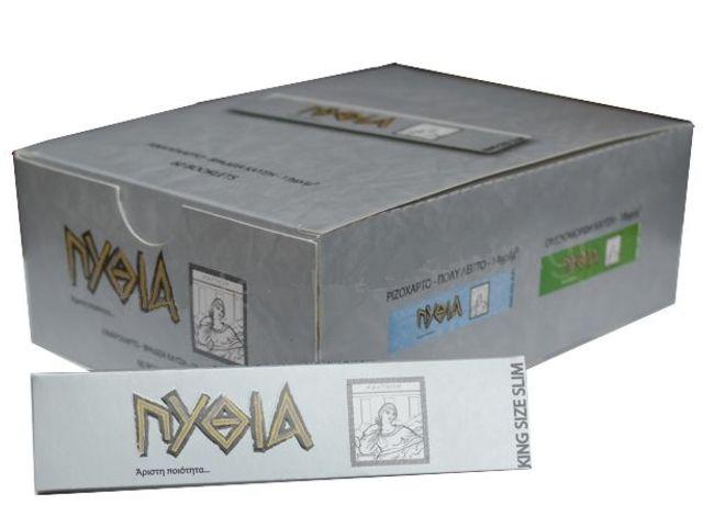 1961 - Κουτί με 60 χαρτάκια ΠΥΘΙΑ ασημί King Size Slim με 32 φύλλα