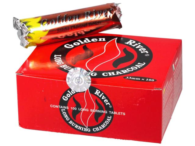 Κουτί με 10 συσκευασίες καρβουνάκια για ναργιλέ GOLDEN RIVER LONG BURNING 33mm