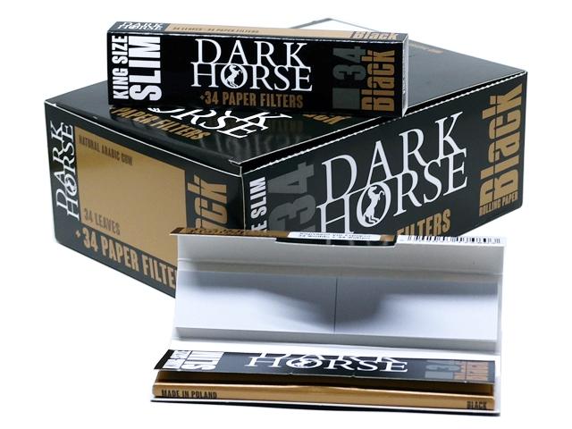 11315 - Χαρτάκια στριφτού DARK HORSE BLACK King Size Slim ΜΕ ΤΖΙΒΑΝΕΣ (ΚΟΥΤΙ ΤΩΝ 24 ΤΕΜ)