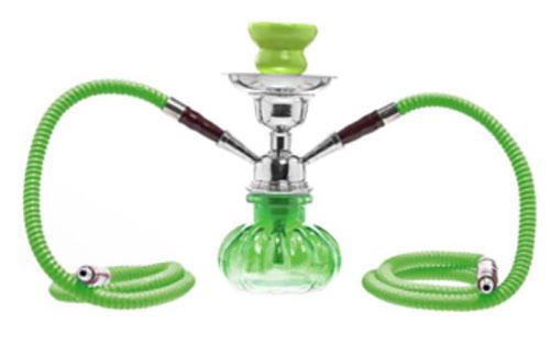 11334 - Ναργιλές Pumpkin Hookah Shisha διπλός 25cm πράσινο χρώμα Art.06813GR