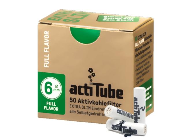 Φιλτράκια actiTube Extra Slim 50 ενεργού άνθρακα 6mm