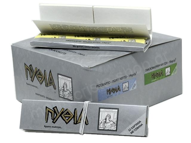 11403 - Χαρτάκια Πυθία Silver Ασημί King Size με τζιβάνες (κουτί 24 τεμ)