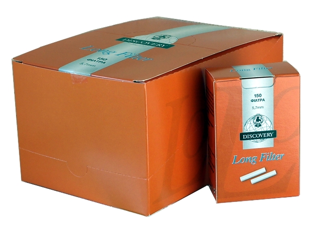 Φιλτράκια DISCOVERY Long Filter extra slim 5.7mm 150 κουτί με 10 φίλτρα (πορτοκαλί)