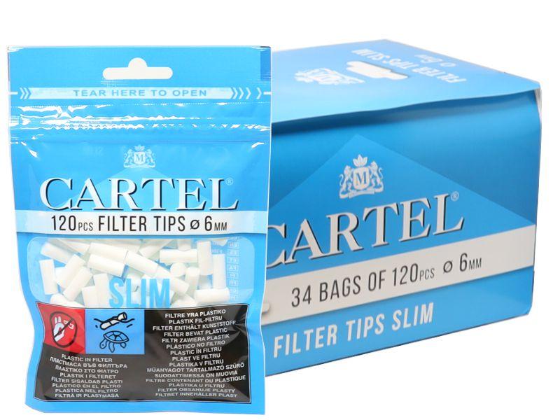 Κουτί με 34 φιλτράκια Cartel Slim 6mm με 120 φίλτρα το σακουλάκι και φίλτρο 15mm